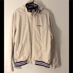 Tommy Hilfiger cream colored jacket w/ hood. Nice!